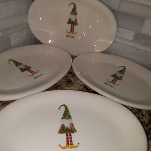 Rae Dunn MERRY gnome appetizer plates